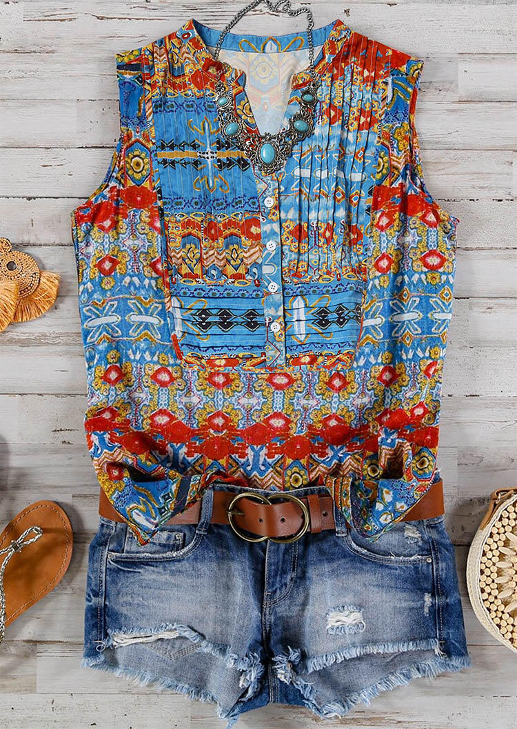 Tank Tops Floral Ruffled Button V-Neck Tank without Necklace in Multicolor. Size: S,M,L,XL фото