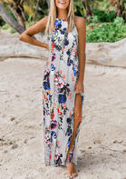 Fairyseason Floral Slit Tie Maxi Dress