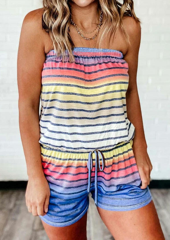 Colorful Striped Splicing Gradient Color Drawstring Romper without Necklace фото