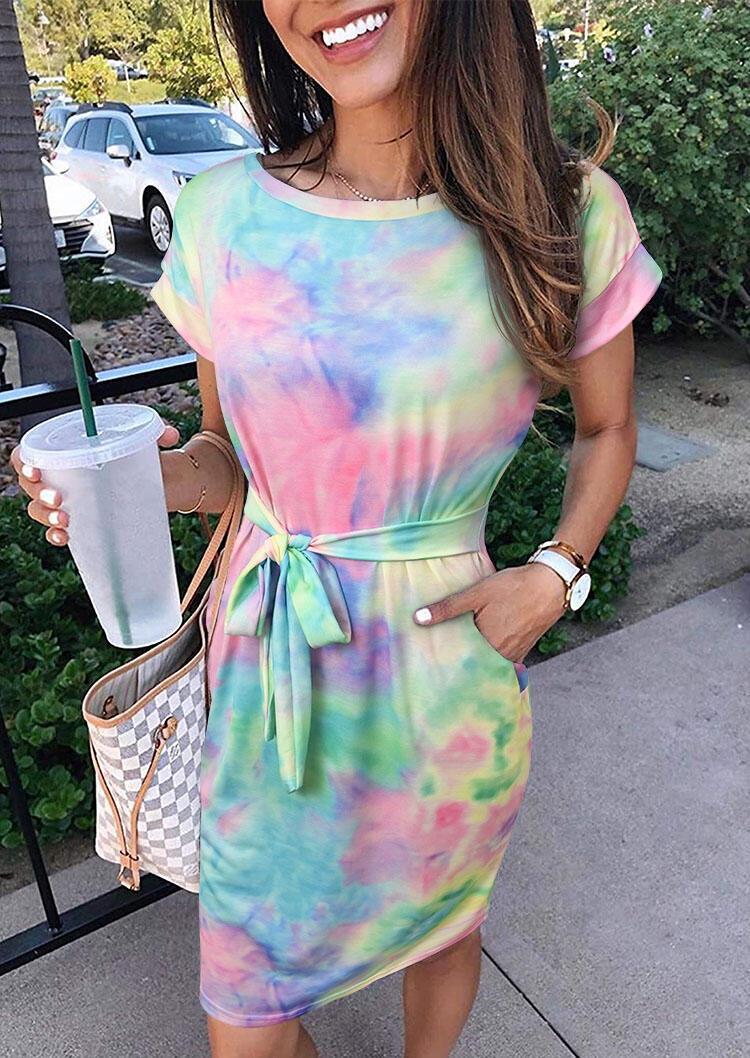 Mini Dresses Tie Dye Pocket Tie Mini Dress without Necklace in Multicolor. Size: S,M,L,XL фото