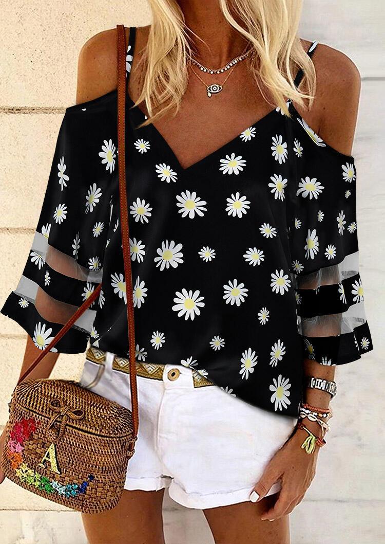 Blouses Daisy Floral Transparent Cold Shoulder Blouse without Necklace in Black. Size: S,M,L,XL фото