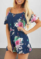 Floral Cut Out Cold Shoulder Romper