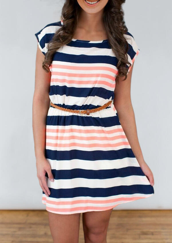 Colorful Striped Splicing Mini Dress without Belt фото