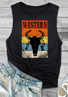 Western Steer Skull Feather Tank - Black