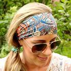 Paisley Wide Elastic Sports Headband