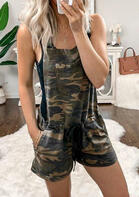 Fairyseason New Style Camouflage Drawstring Pocket Romper