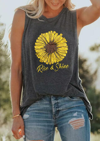 Rise & Shine Sunflower Casual Tank - Dark Grey