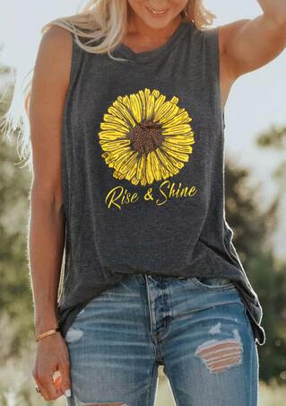 Rise & Shine Sunflower Casual Tank - Dark Grey