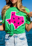 Bellelily New Arrivals - Texas Watermelon O-Neck T-Shirt Tee