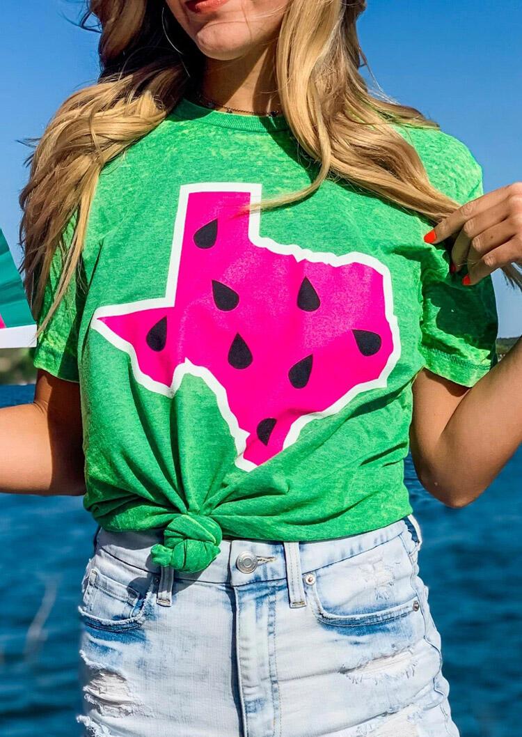Texas Watermelon O-Neck T-Shirt Tee - Green фото