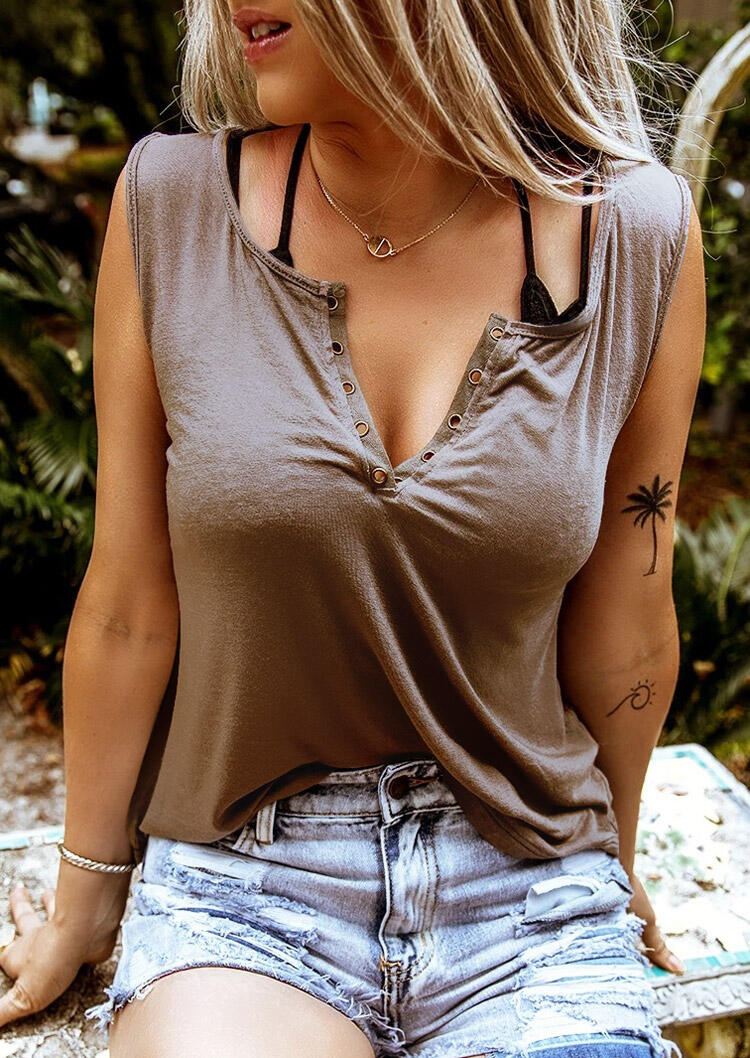 Tank Tops Hole V-Neck Tank without Necklace in Coffee. Size: S,M фото