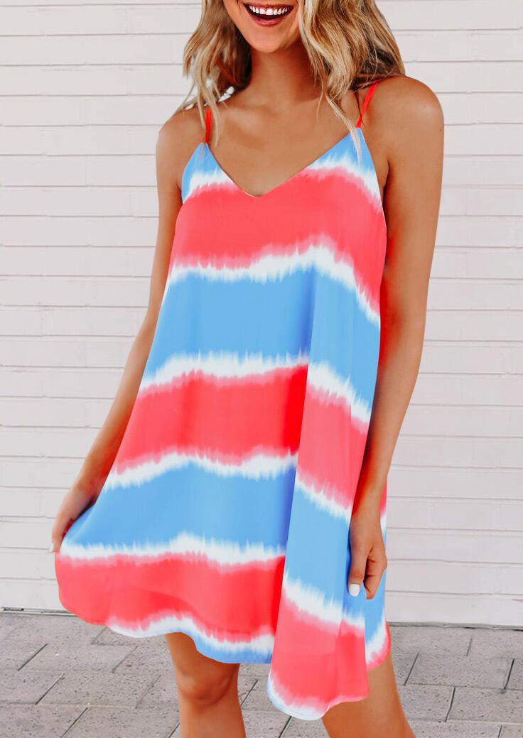 Striped Tie Dye Color Block Spaghetti Strap Mini Dress фото