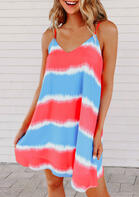 Fairyseason New Arrivals - Striped Tie Dye Color Block Spaghetti Strap Mini Dress