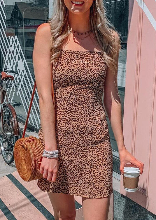 Leopard Sleeveless Bodycon Dress without Necklace фото