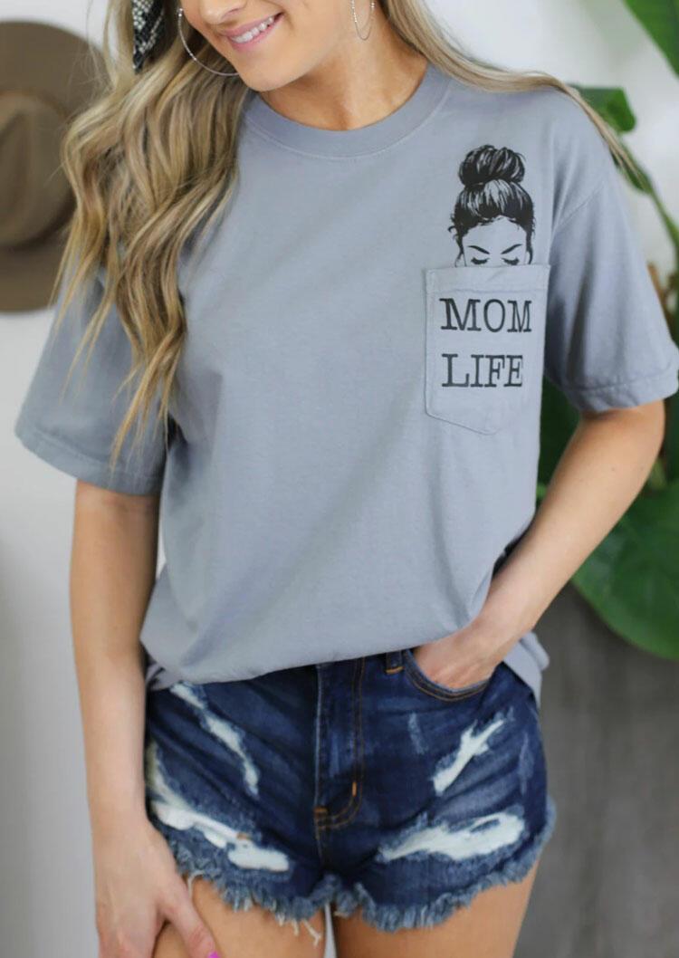 Mom Life Pocket T-Shirt Tee - Gray фото