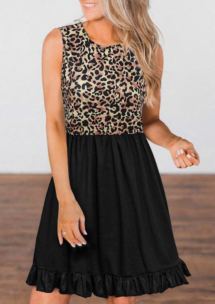 Leopard Splicing Ruffled Button Sleeveless Mini Dress фото