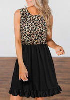 Leopard Splicing Ruffled Button Sleeveless Mini Dress
