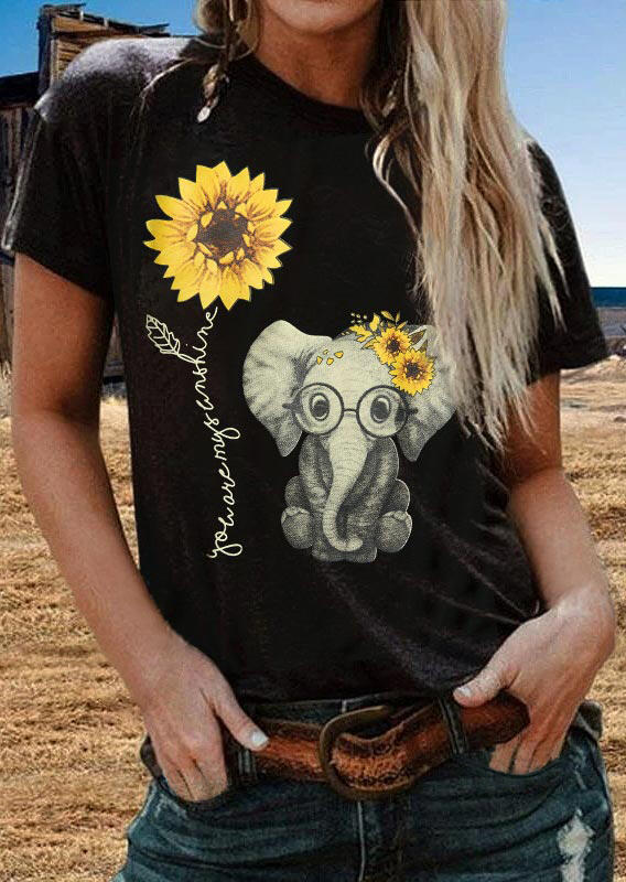 You Are My Sunshine Sunflower Elephant T-Shirt Tee - Black фото
