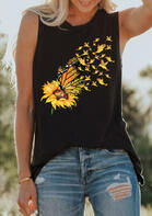 Fairyseason New In - Sunflower Butterfly Casual Tank Black