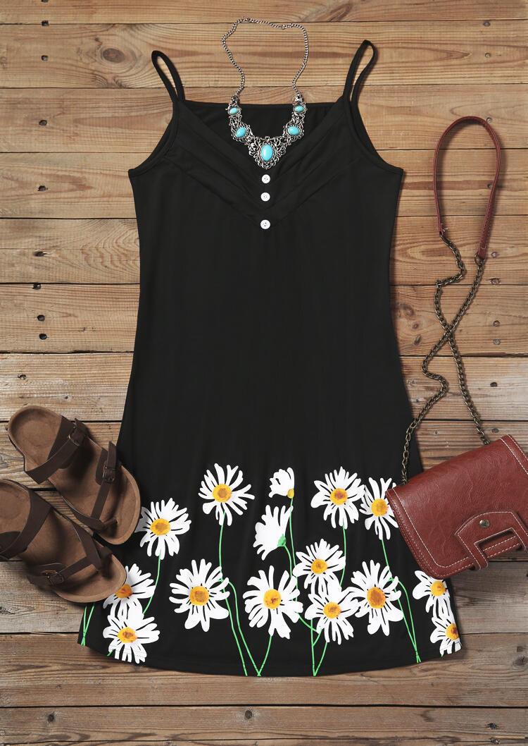 Daisy Ruffled Button Spaghetti Strap Mini Dress - Black