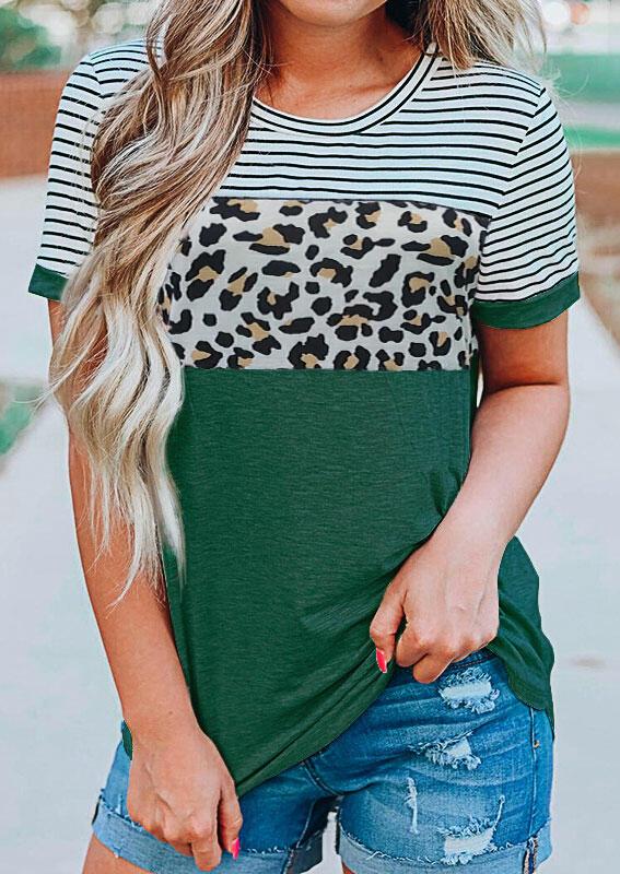 Striped Leopard T-Shirt Tee - Green фото