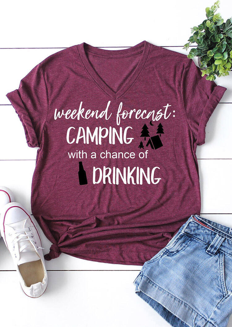 Tees T-shirts Weekend Forecast Camping With A Chance Of Drinking T-Shirt Tee in Plum. Size: S фото