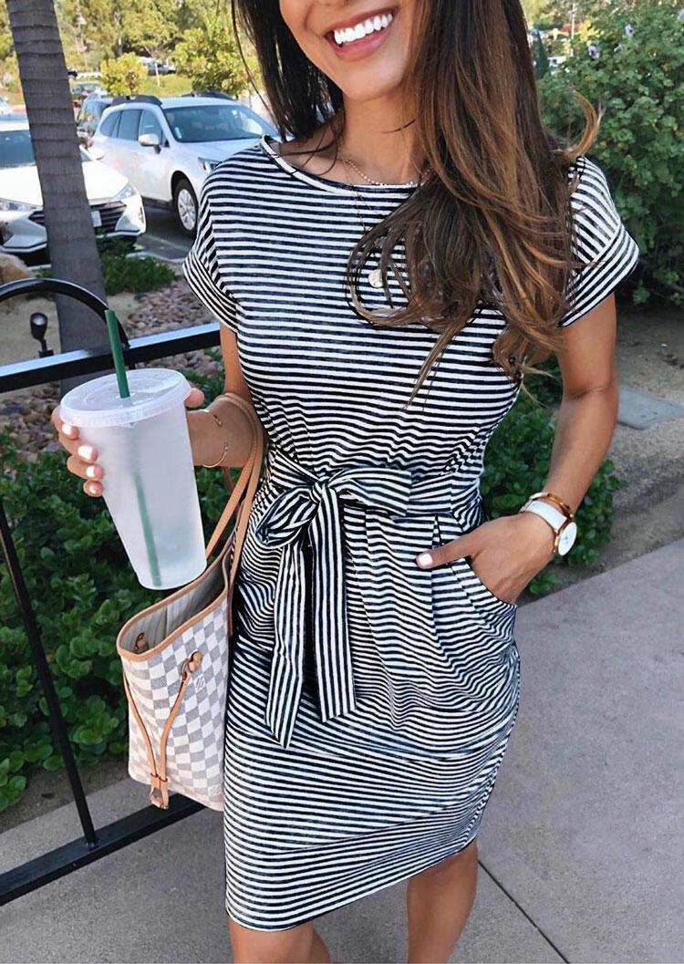 Striped Pocket Tie Mini Dress without Necklace - Black фото
