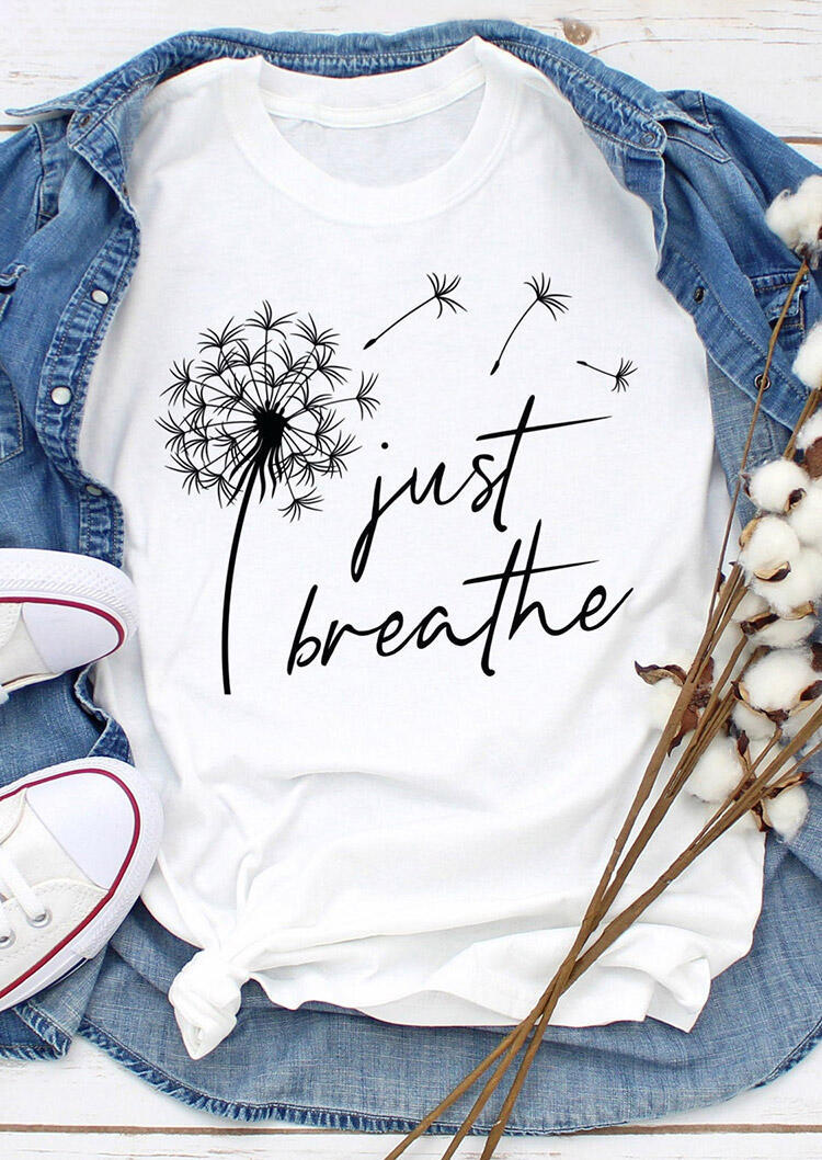 Just Breathe Dandelion T-Shirt Tee - White фото