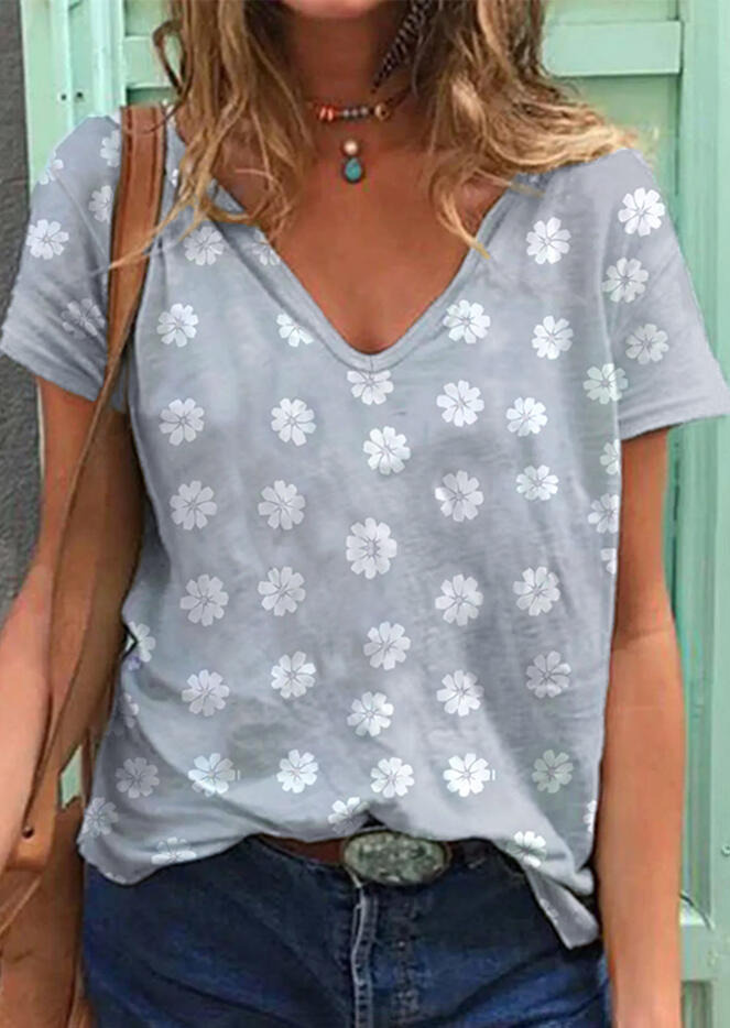 Daisy Floral V-Neck T-Shirt Tee without Necklace - Gray фото