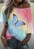 Tie Dye Butterfly O-Neck T-Shirt Tee