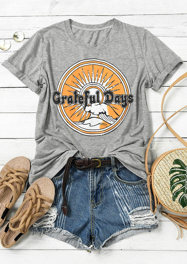 Tees T-shirts Grateful Days O-Neck T-Shirt Tee in Gray. Size: S,M,L,XL фото