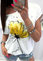 Bellelily New Clothes - Floral O-Neck T-Shirt Tee White