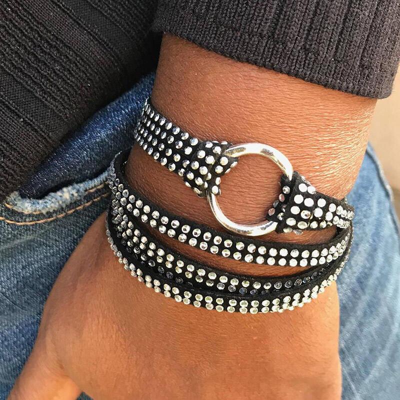 Crystal Rhinestone Faux Leather Wrap Bracelet фото