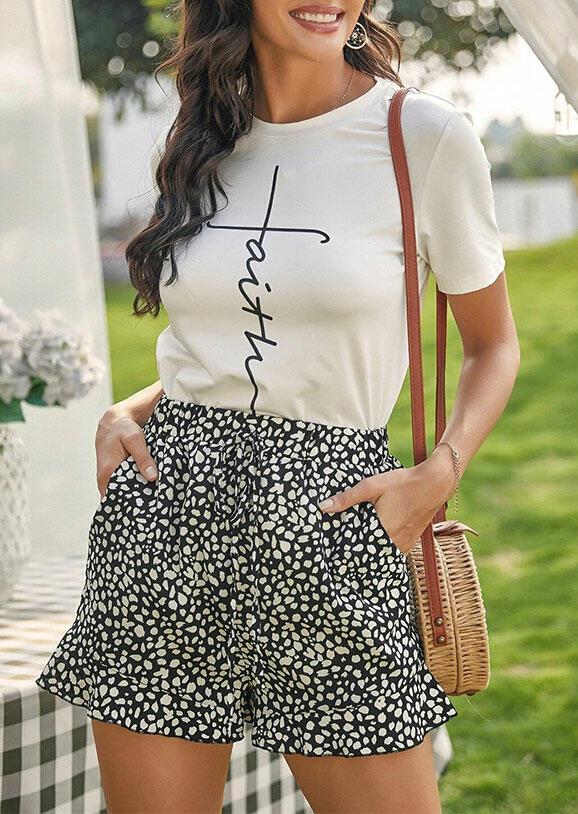 Polka Dot Ruffled High Waist Pocket Shorts - Black thumbnail