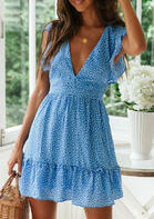 Ruffled Polka Dot Tie V-Neck Mini Dress