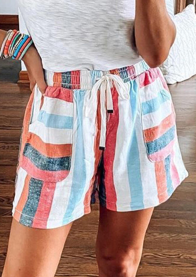 Shorts Striped Pocket Tie Drawstring Shorts in Multicolor. Size: S,M,L фото