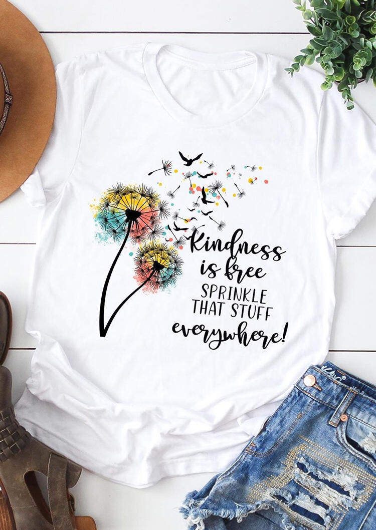 Tees T-shirts Kindness Is Free Dandelion T-Shirt Tee in White. Size: S,M,L,XL фото