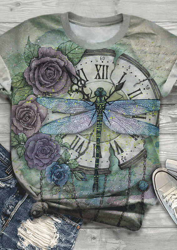Floral Dragonfly Clock T-Shirt Tee фото