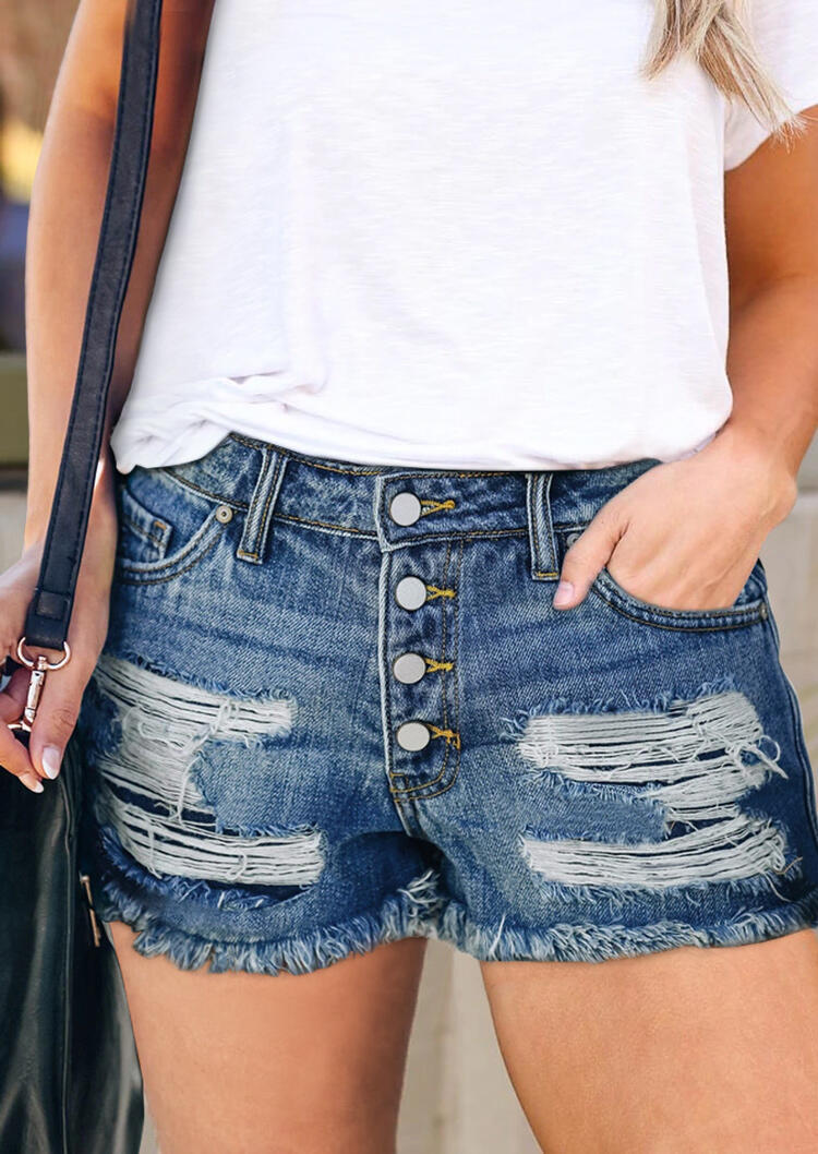 Ripped Hole Pocket Denim Shorts - Blue фото