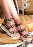 Leopard Buckle Strap Wedge Sandals