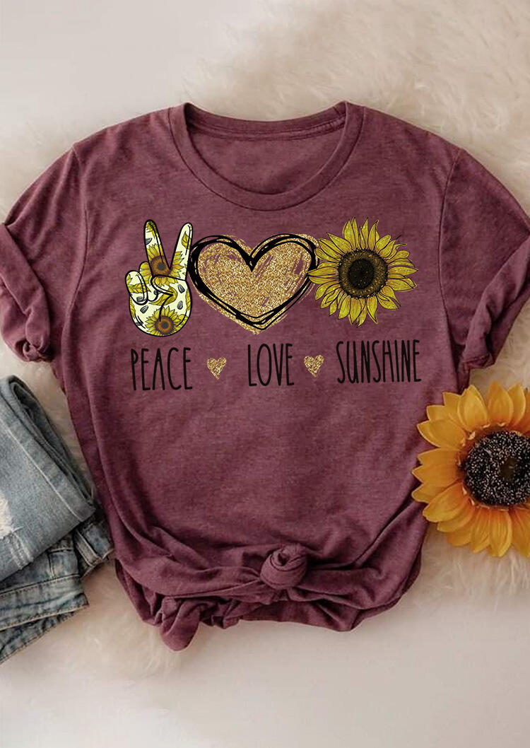 Tees T-shirts Peace Love Sunshine Sunflower T-Shirt Tee in Burgundy. Size: S,M,L,XL фото