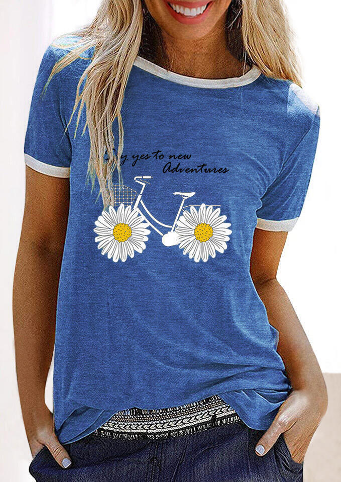 Tees T-shirts Say Yes To New Adventures Daisy Bike T-Shirt Tee in Blue. Size: M,XL фото