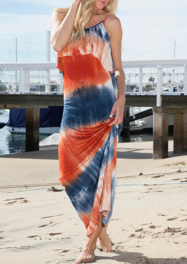 Maxi Dresses Tie Dye Open Back Maxi Dress in Orange. Size: S,M,L фото