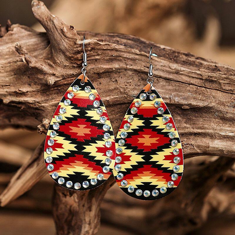 Earrings Aztec Geometric Rhinestone Water Drop PU Leather Earrings in Multicolor. Size: One Size фото