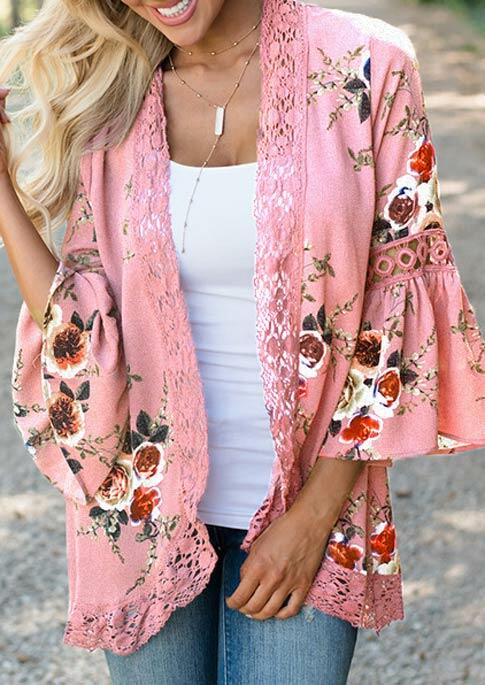 Lace Floral Splicing Hollow Out Cardigan without Necklace - Pink фото