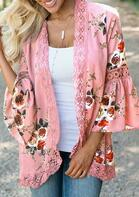 Lace Floral Splicing Hollow Out Cardigan