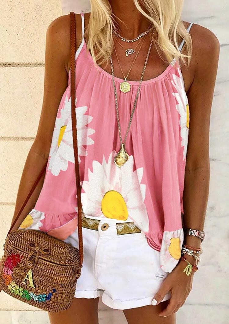 Tank Tops Sunflower Ruffled Camisole without Necklace in Pink. Size: S,M,L,XL фото