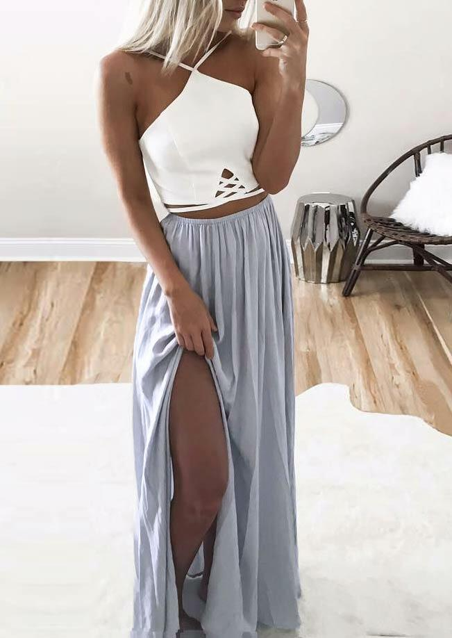 Criss-Cross Open Back Ruffled Slit Halter Maxi Dress - White фото