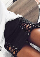 High Waist Lace Up Tie Skirt