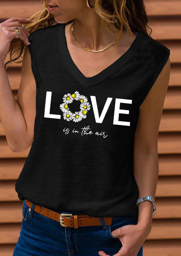Tank Tops Daisy Floral Love Is In The Air Tank without Necklace in Black. Size: S,M,XL фото